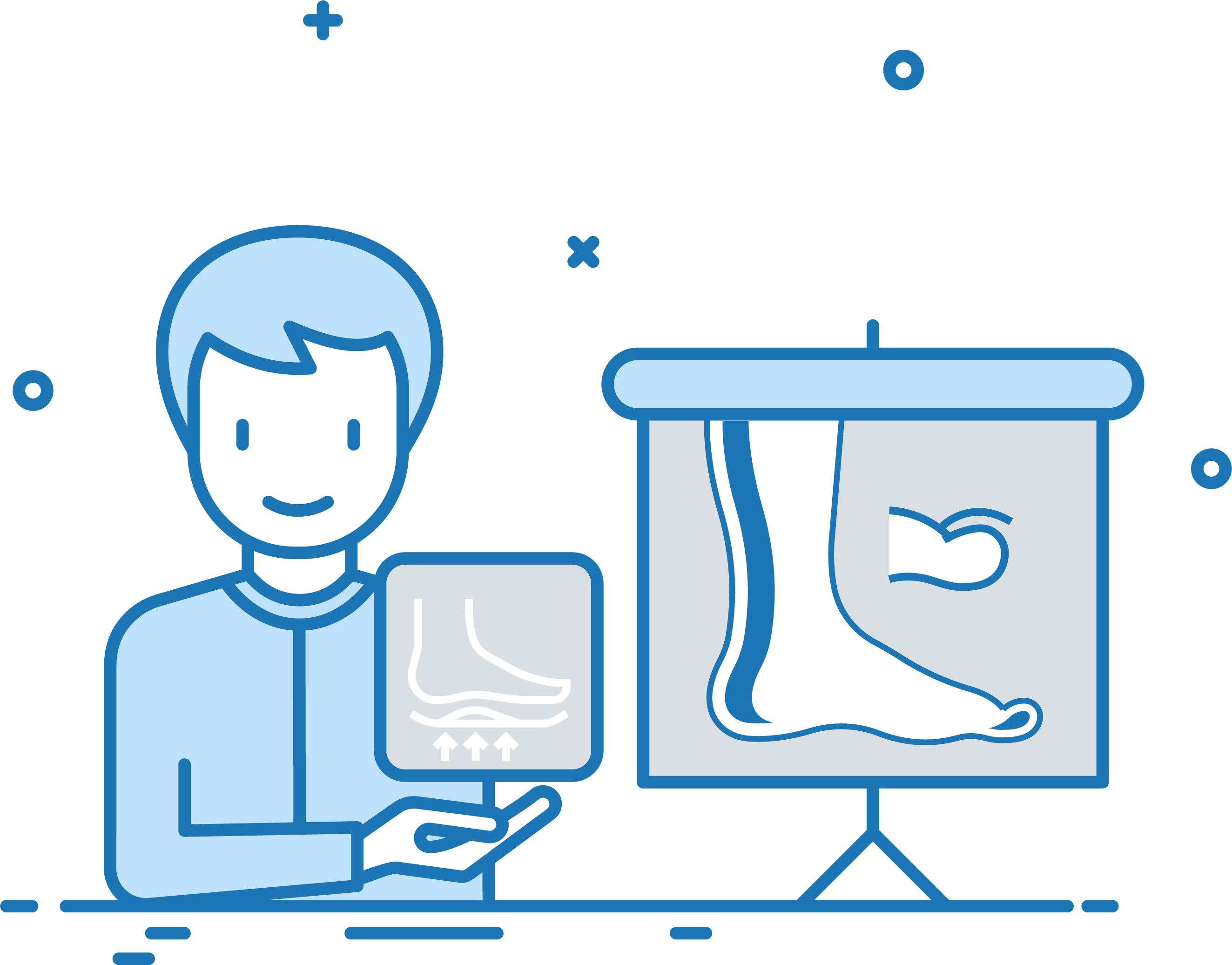 An icon showing a patient with insurance coverage for orthotics.