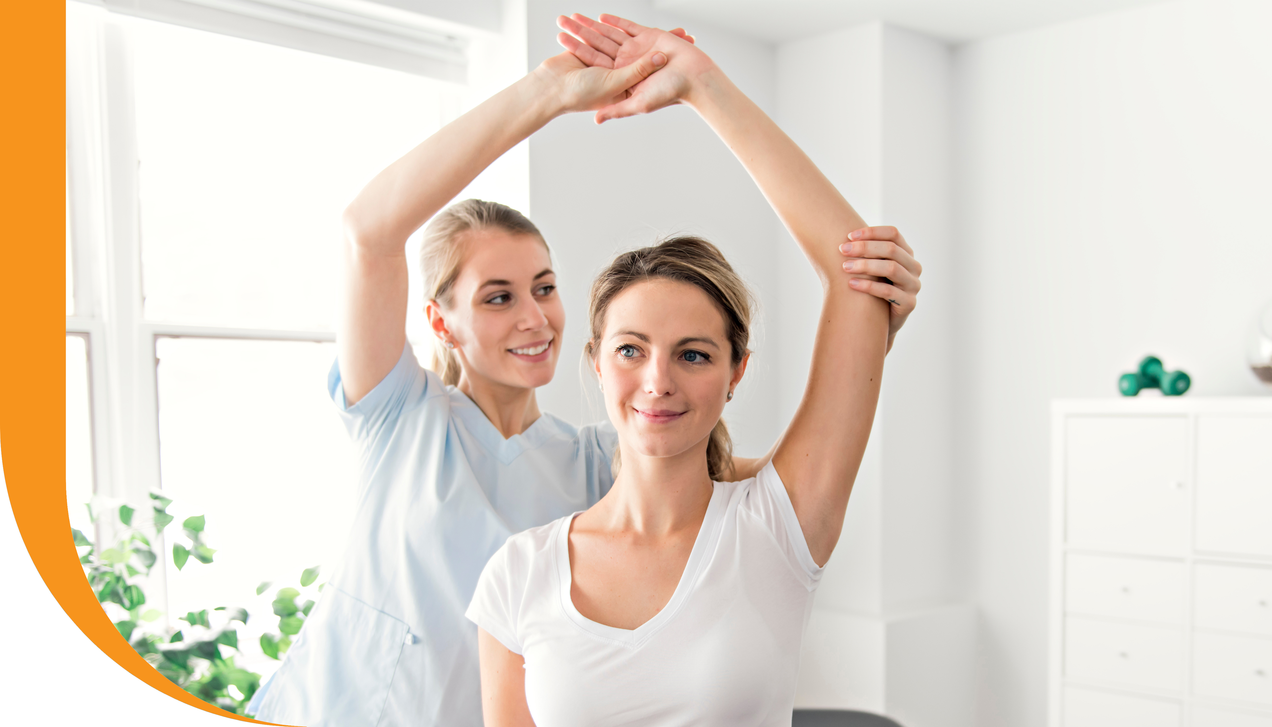 A patient in a work conditioning program receiving manual therapy from a physiotherapist.