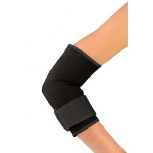A patient wearing an elbow brace for added support.