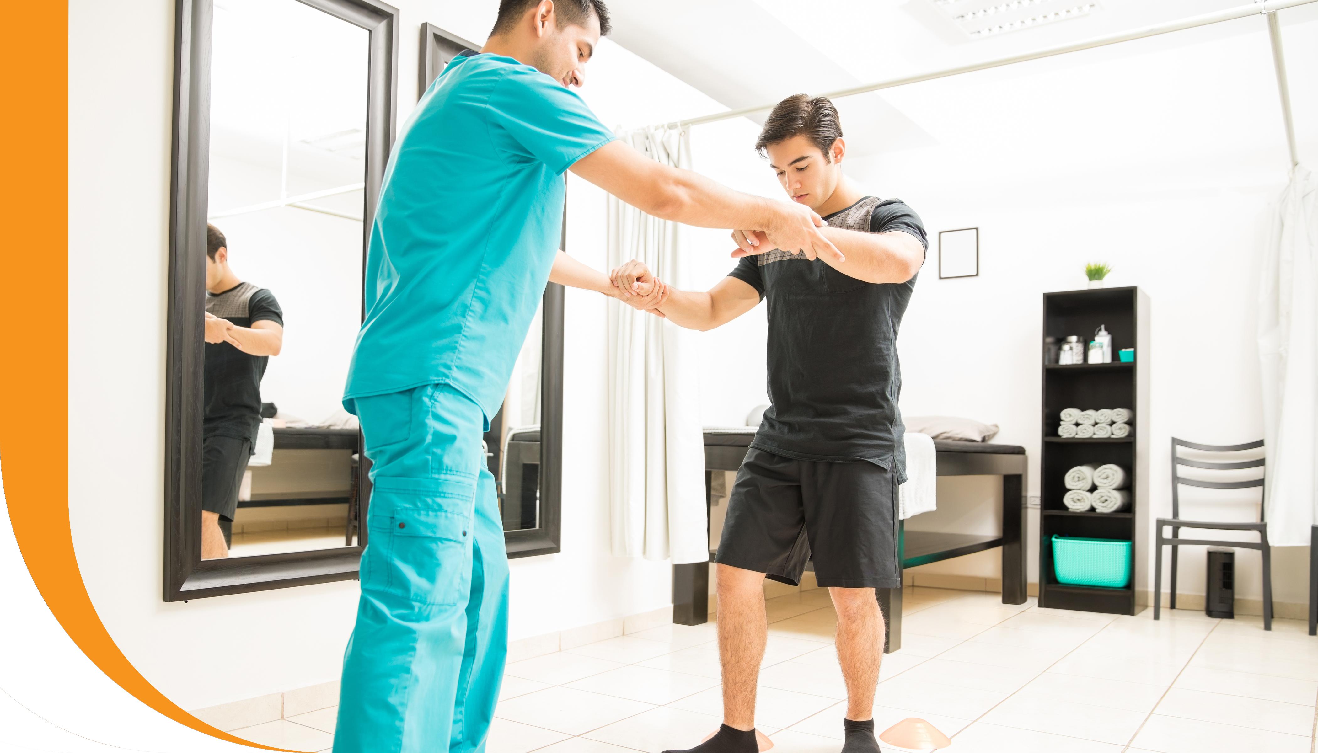 A patient receiving assistance with neurological retraining.